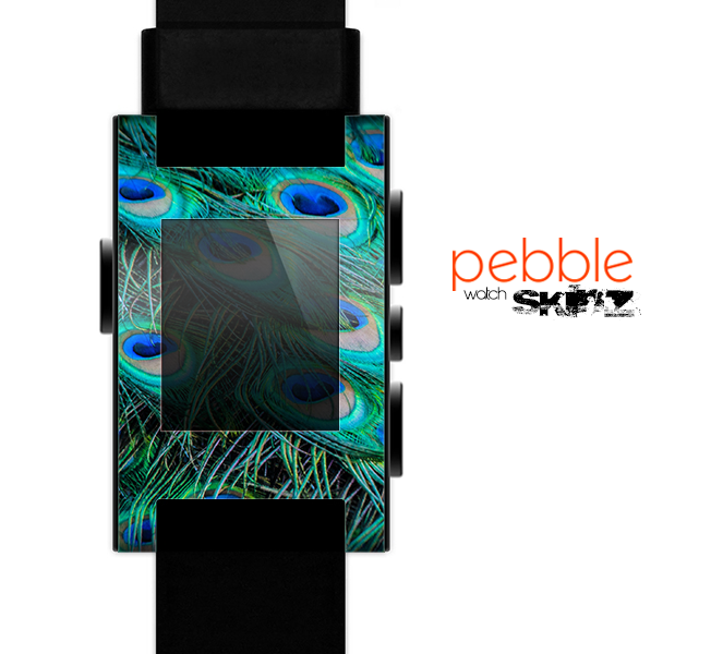 The Neon Multiple Peacock Skin for the Pebble SmartWatch for the Pebble Watch