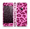 The Neon Pink Cheetah Animal Print Skin Set for the Apple iPhone 5
