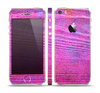The Neon Pink Dyed Wood Grain Skin Set for the Apple iPhone 5s