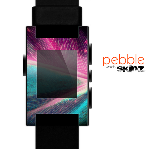 The Neon Pink & Green Leaf Skin for the Pebble SmartWatch