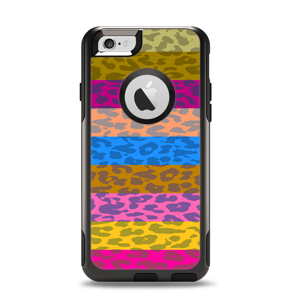 The Neon Striped Cheetah Animal Print Apple iPhone 6 Otterbox Commuter Case Skin Set