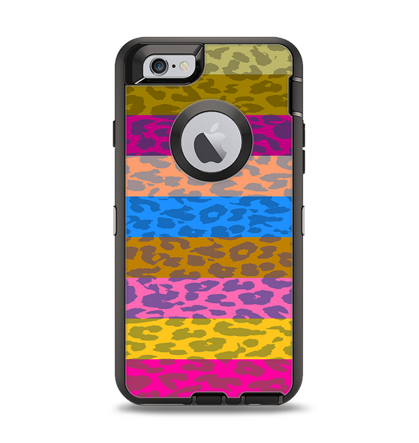 The Neon Striped Cheetah Animal Print Apple iPhone 6 Otterbox Defender Case Skin Set