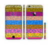 The Neon Striped Cheetah Animal Print Sectioned Skin Series for the Apple iPhone 6 Plus