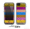 The Neon Striped Cheetah Animal Print Skin for the Apple iPhone 5c LifeProof Case