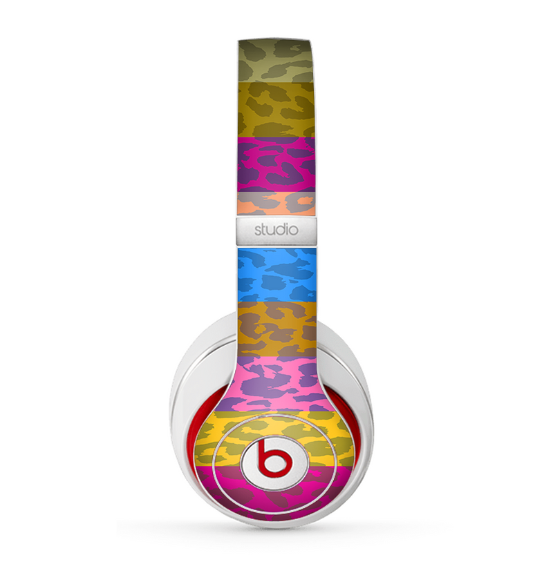 The Neon Striped Cheetah Animal Print Skin for the Beats by Dre Studio (2013+ Version) Headphones