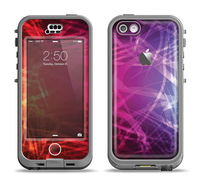 The Neon Translucent Swirls Apple iPhone 5c LifeProof Nuud Case Skin Set