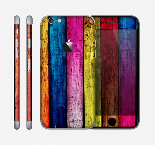 The Neon Wood Color-Planks Skin for the Apple iPhone 6