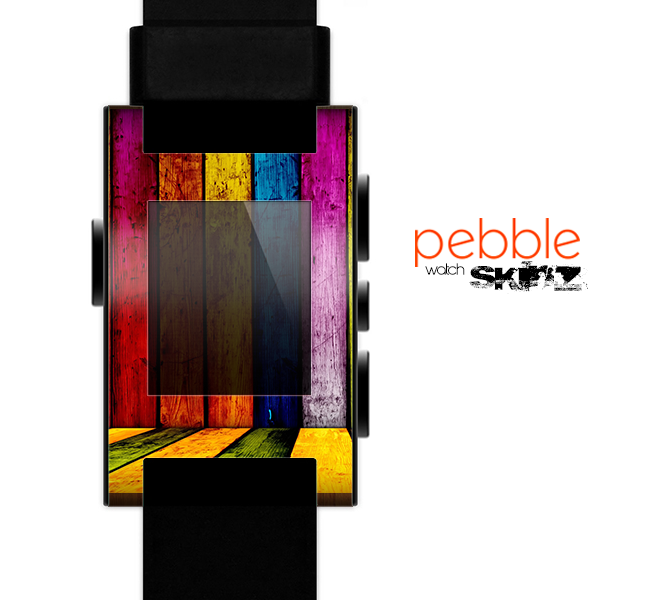 The Neon Wood Color-Planks Skin for the Pebble SmartWatch