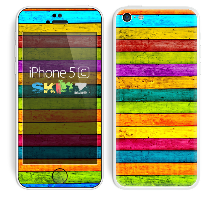 The Thin Neon Wood Planks Skin for the Apple iPhone 5c