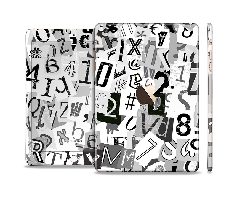 The Newspaper Letter Collage Full Body Skin Set for the Apple iPad Mini 3