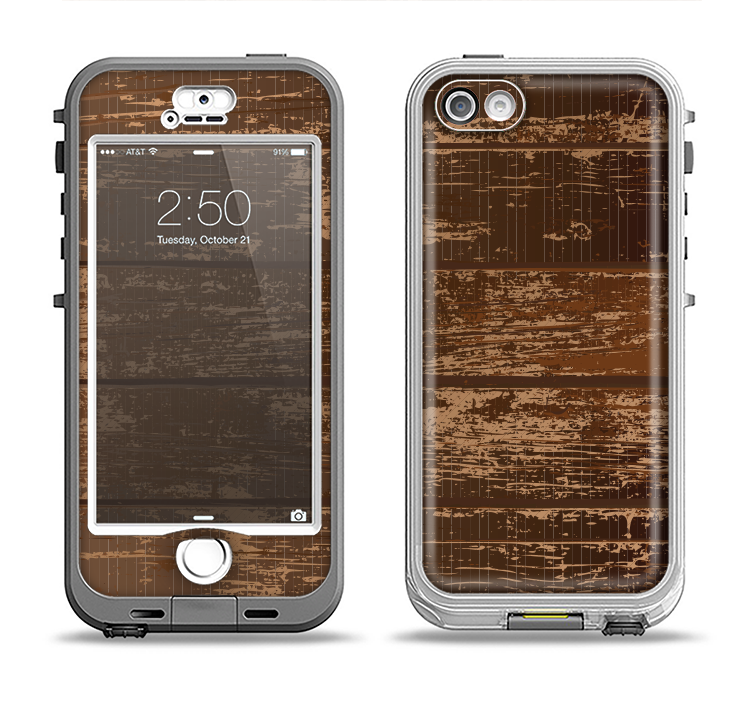 The Old Worn Wooden Planks V2 Apple iPhone 5-5s LifeProof Nuud Case Skin Set
