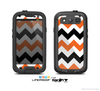 The Orange & Black Chevron Pattern Skin For The Samsung Galaxy S3 LifeProof Case