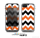 The Orange & Black Chevron Pattern Skin for the Apple iPhone 5c LifeProof Case
