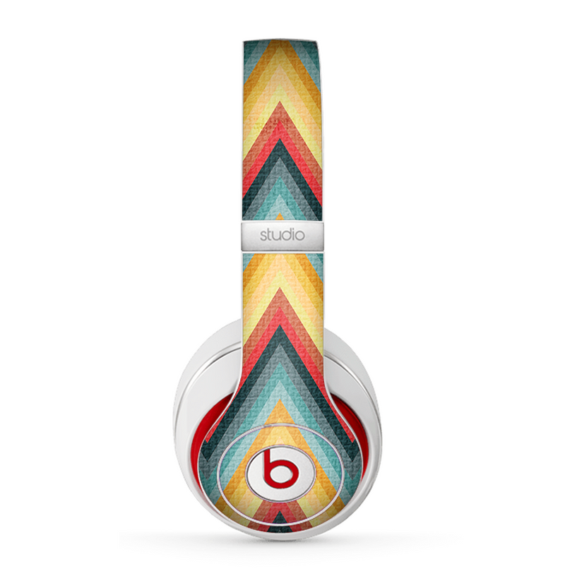 The Orange & Blue Chevron Textured Skin for the Beats by Dre Studio (2013+ Version) Headphones