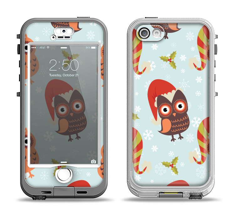 The Orange Cartoon Winter Owls Apple iPhone 5-5s LifeProof Nuud Case Skin Set