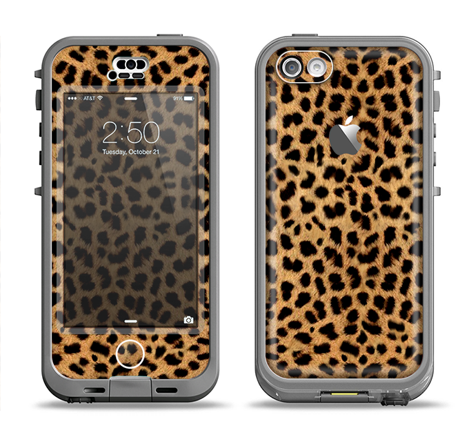 The Orange Cheetah Fur Pattern Apple iPhone 5c LifeProof Nuud Case Skin Set