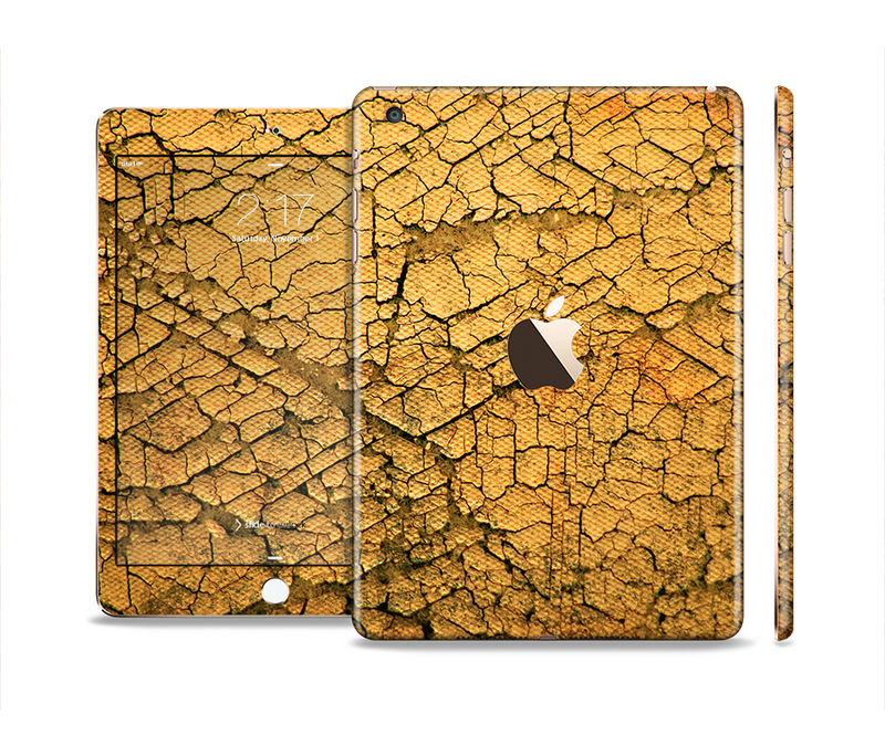 The Orange Cracked Surface Full Body Skin Set for the Apple iPad Mini 3