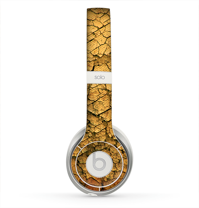 The Orange Cracked & Scratched Surface Skin for the Beats by Dre Solo 2 Headphones