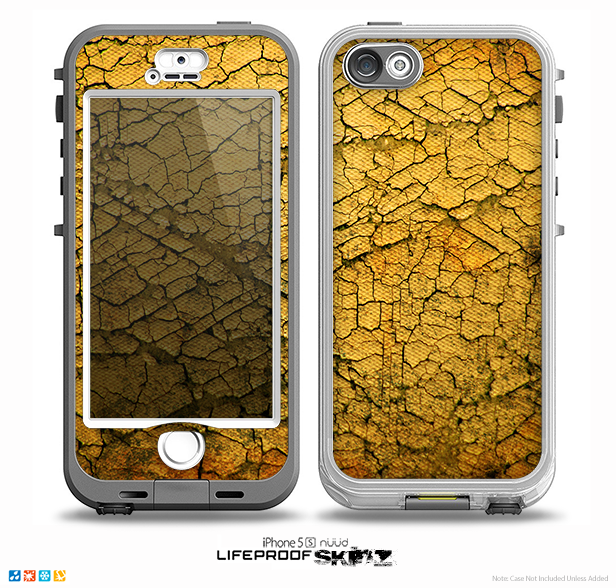The Orange Cracked Surface Skin for the iPhone 5-5s NUUD LifeProof Case for the lifeproof skins