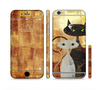 The Orange Grungy Textured Cat Sectioned Skin Series for the Apple iPhone 6 Plus