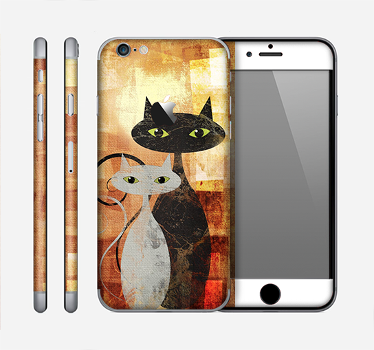 The Orange Grungy Textured Cat Skin for the Apple iPhone 6