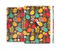 The Orange & Red Cute Vector Birds Full Body Skin Set for the Apple iPad Mini 3