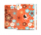 The Orange Vector Floral with Blue Full Body Skin Set for the Apple iPad Mini 3