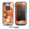 The Orange Vector Floral with Blue Skin for the iPhone 4 or 5 LifeProof Case