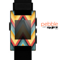 The Orange & Blue Chevron Textured Skin for the Pebble SmartWatch