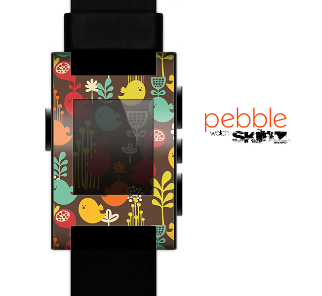 The Orange & Red Cute Vector Birds Skin for the Pebble SmartWatch