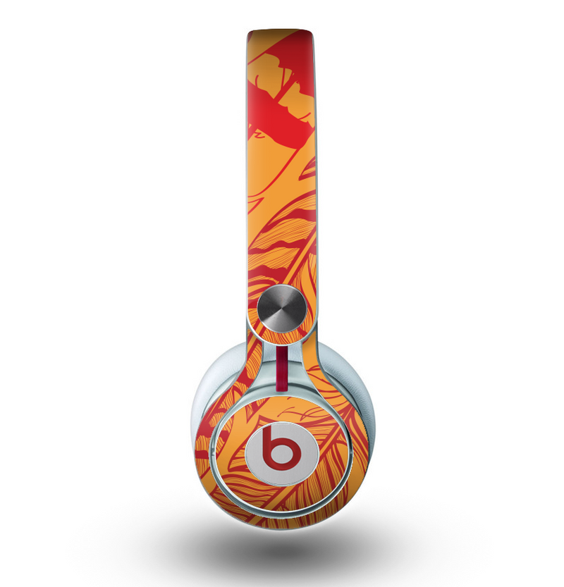 The Orange and Red Vector Feathers Skin for the Beats by Dre Mixr Headphones