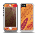 The Orange and Red Vector Feathers Skin for the iPhone 5-5s OtterBox Preserver WaterProof Case