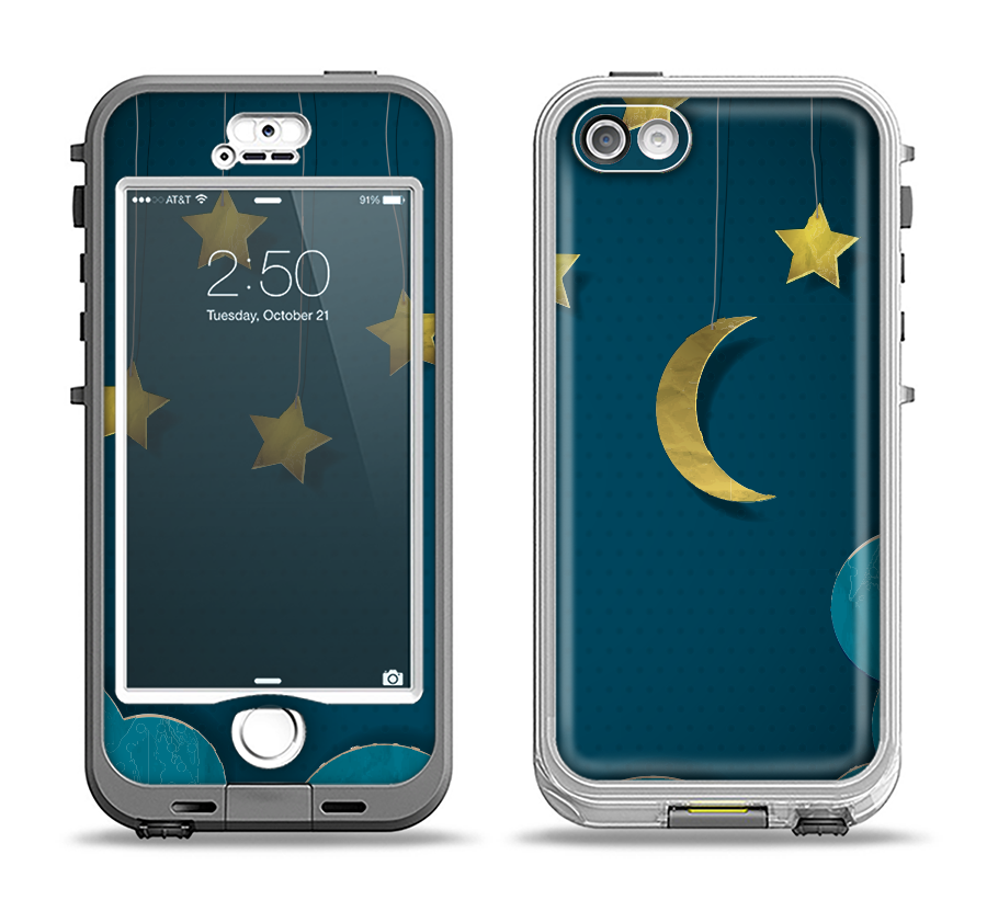 The Paper Stars and Moon Apple iPhone 5-5s LifeProof Nuud Case Skin Set