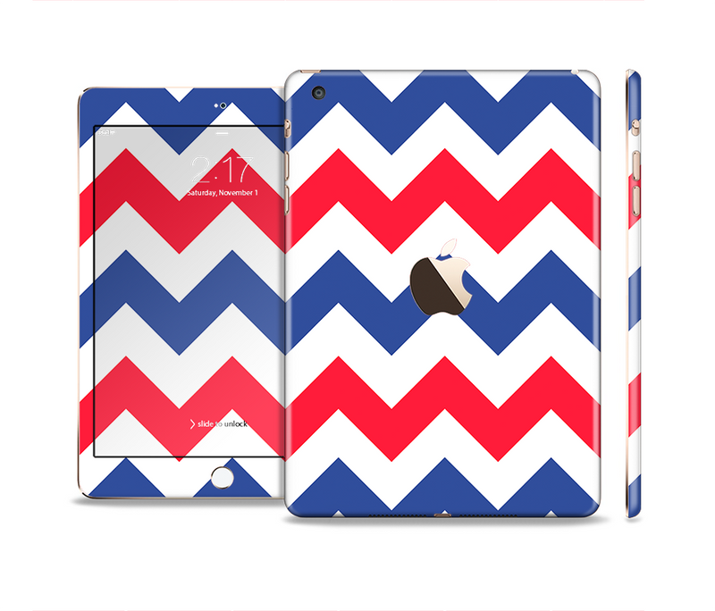The Patriotic Chevron Pattern Full Body Skin Set for the Apple iPad Mini 3