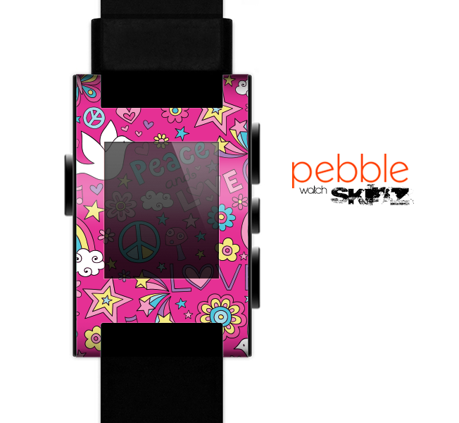 The Peace Love Pink Illustration Skin for the Pebble SmartWatch