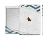 The Peeled Vintage Blue & Gray Chevron Pattern Full Body Skin Set for the Apple iPad Mini 3