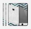 The Peeled Vintage Blue & Gray Chevron Pattern Skin for the Apple iPhone 6