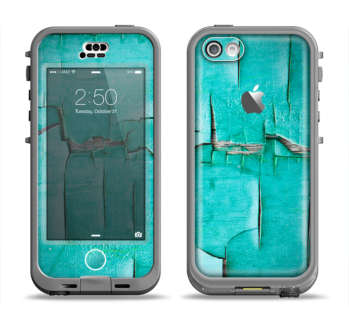 The Peeling Teal Paint Apple iPhone 5c LifeProof Nuud Case Skin Set
