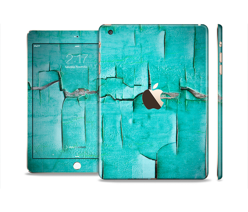 The Peeling Teal Paint Full Body Skin Set for the Apple iPad Mini 3
