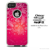 The Pink Abstract White Branches Skin For The iPhone 4-4s or 5-5s Otterbox Commuter Case