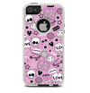 The Pink & Black Love Skulls Pattern V3 Skin For The iPhone 5-5s Otterbox Commuter Case