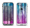 The Pink & Blue Dyed Wood Apple iPhone 5-5s LifeProof Fre Case Skin Set