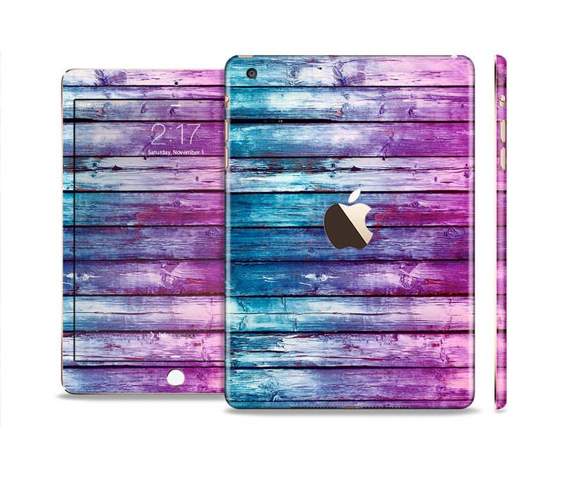 The Pink & Blue Dyed Wood Full Body Skin Set for the Apple iPad Mini 3
