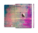 The Pink & Blue Grunge Wood Planks Full Body Skin Set for the Apple iPad Mini 3