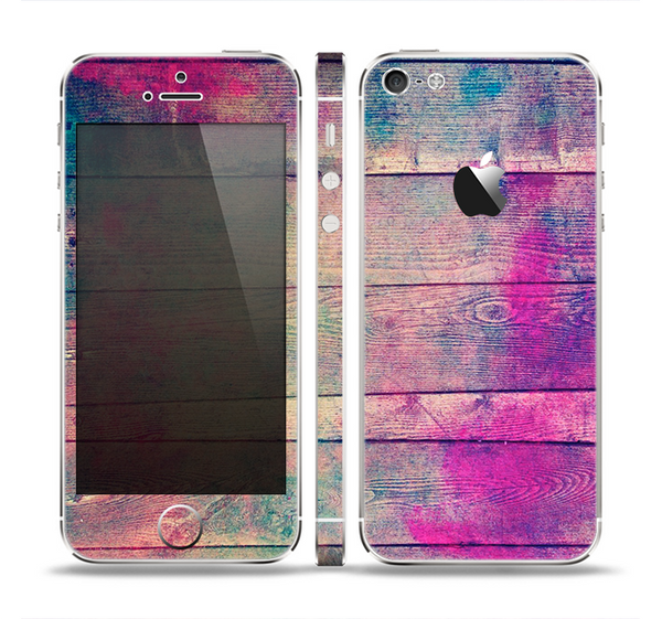 The Pink & Blue Grunge Wood Planks Skin Set for the Apple iPhone 5