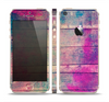 The Pink & Blue Grunge Wood Planks Skin Set for the Apple iPhone 5s