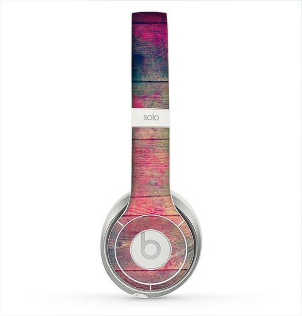 The Pink & Blue Grunge Wood Planks Skin for the Beats by Dre Solo 2 Headphones