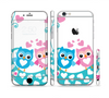 The Pink & Blue Vector Love Birds Sectioned Skin Series for the Apple iPhone 6 Plus