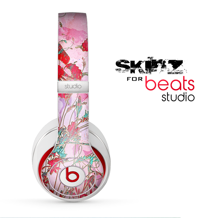 The Pink Bright Watercolor Floral Skin for the Beats Studio for the Beats Skin