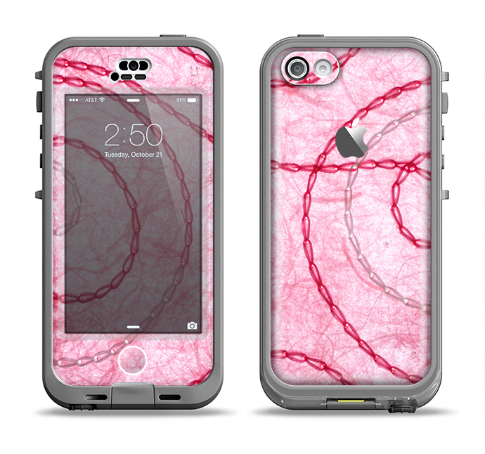 The Pink Chain Stitch Apple iPhone 5c LifeProof Nuud Case Skin Set